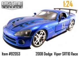 Jada Toys - 1:24 2008 DODGE VIPER SRT10 RACING (BLUE-BLACK-RED-SILVER) - JA-92053
