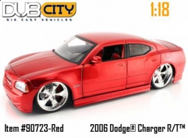 Jada Toys - 1:18 DUB CITY 2006 DODGE CHARGER (RED-SILVER) - JA-90723