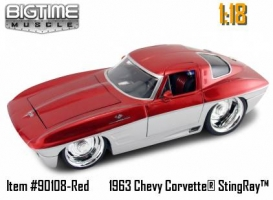 Jada Toys - 1:18 BTM 1963 CORVETTE STINGRAY - JA-90108 C. RED