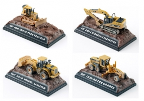 Cat - 1:87 AT WORK WEATHERED & LAND-DISPLAY 12 ASSORTED - CAT-55431