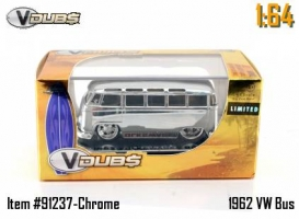 Jada Toys - 1:64 VDUBS-'62 VW MICROBUS W/SURF-CHROME - JA-91237