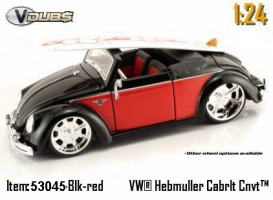 Jada Toys - 1:24 V-DUB '49 VW-HEBMULLER CONVERTIBLE - JA-53045 BLACK/RED